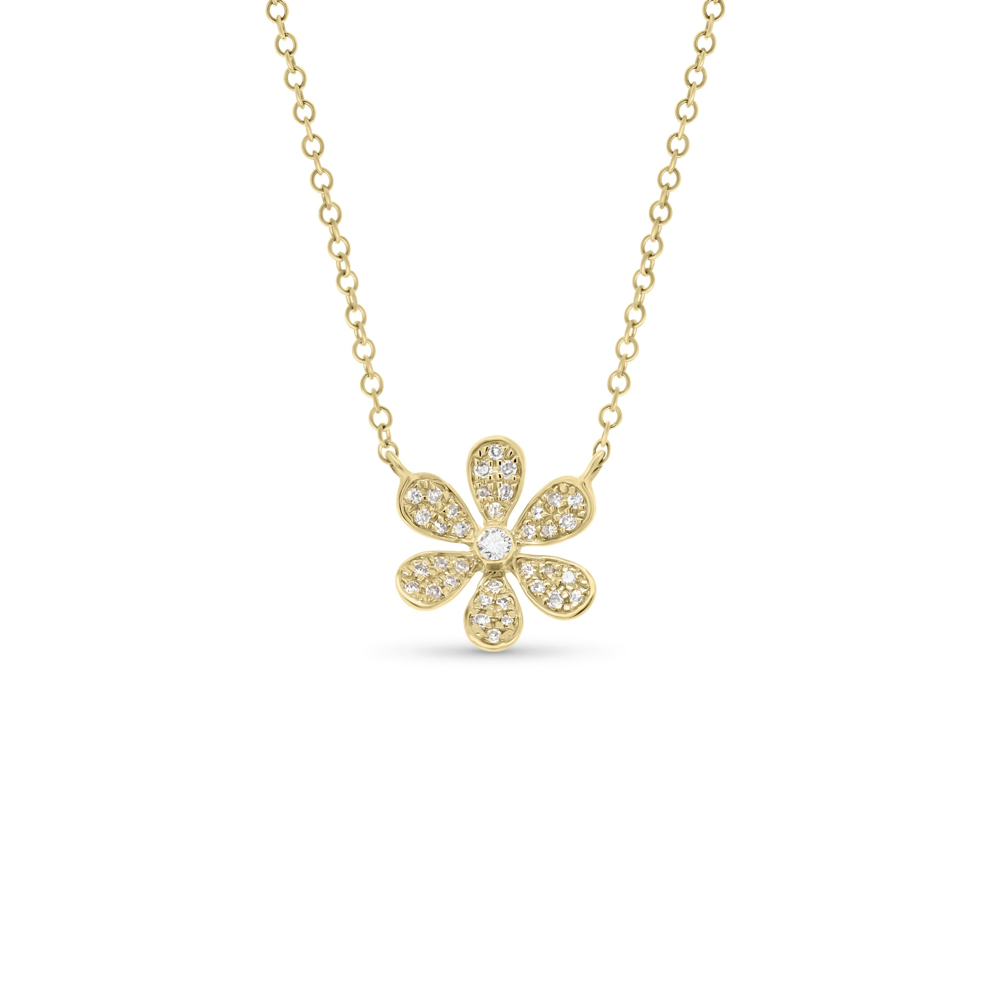Round Diamond Daisy Necklace