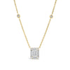 Diamond Large Rectangle Pendant with Bezel-Set Diamond Stations