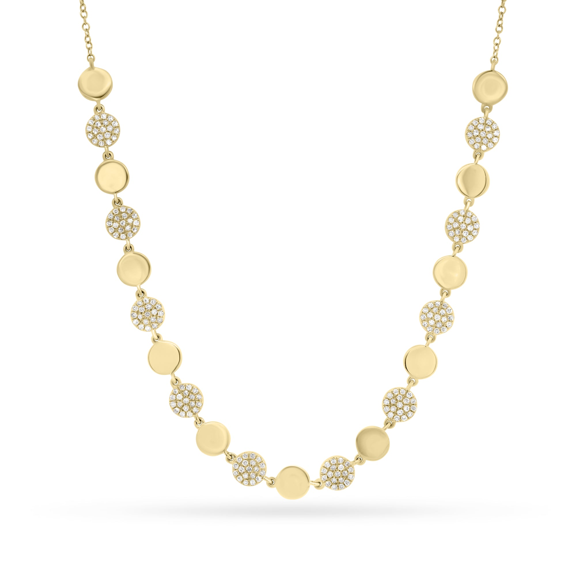 Diamond & Gold Disc Necklace