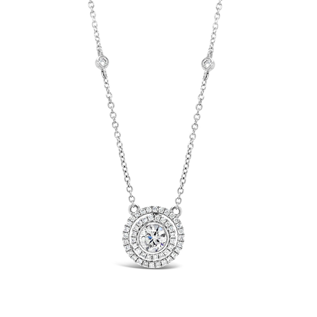 Diamond Halo Necklace with Bezel Chain