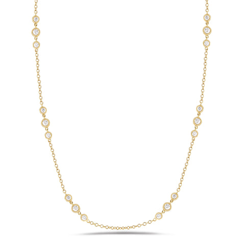 3 Station Diamond by the Yard Necklace with Antique Milgrain