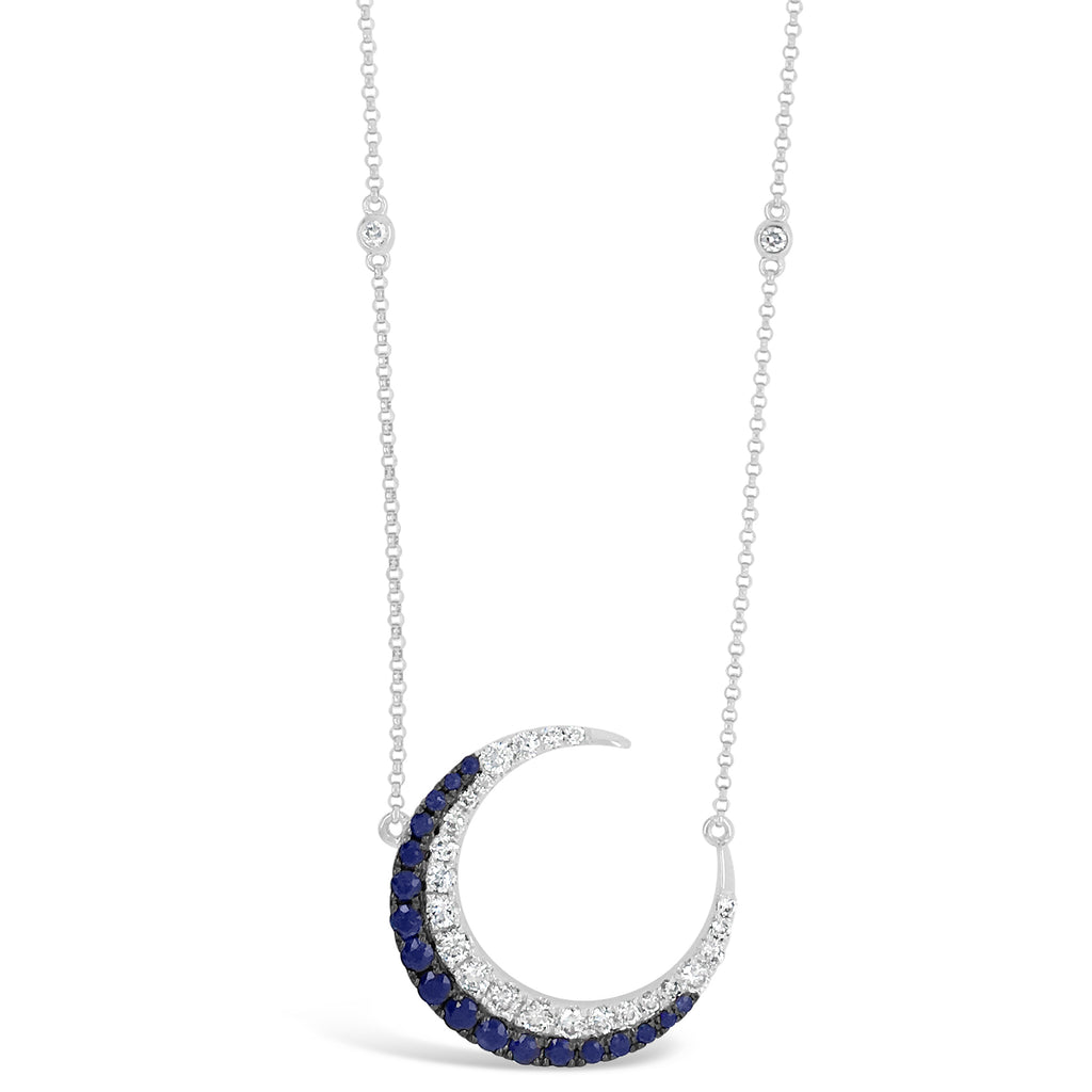 Sapphire & Diamond Crescent Moon Necklace