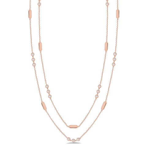 Layered Diamond Station Necklace