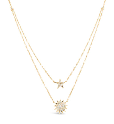 Sun & Star Layered Diamond Necklace