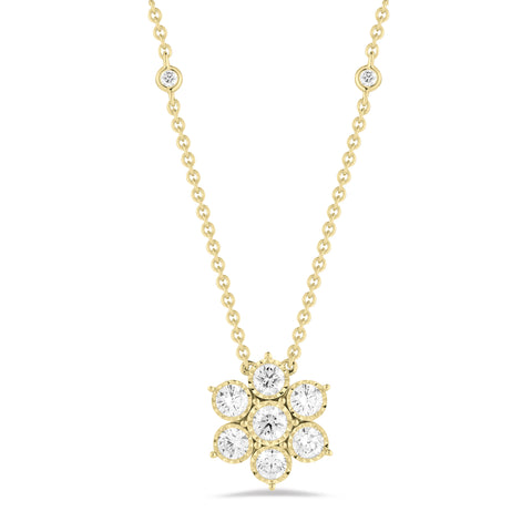 Diamond Flower with Diamond Bezel Chain Necklace