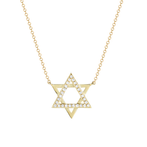 Diamond & Gold Star of David Pendant Necklace