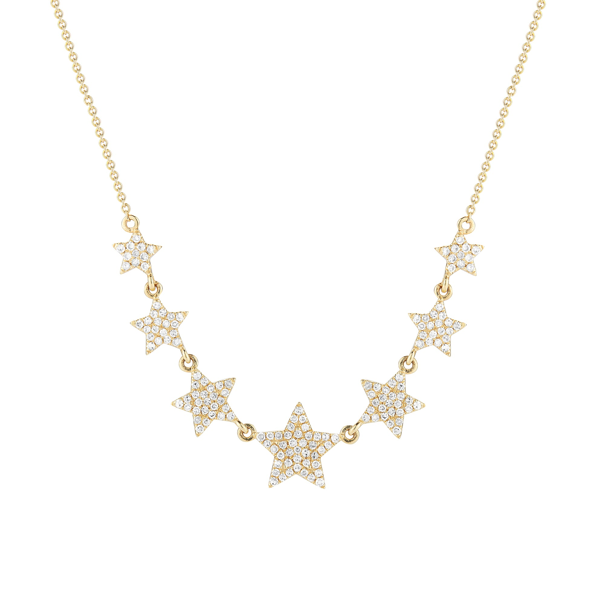 Diamond Graduated Star Necklace