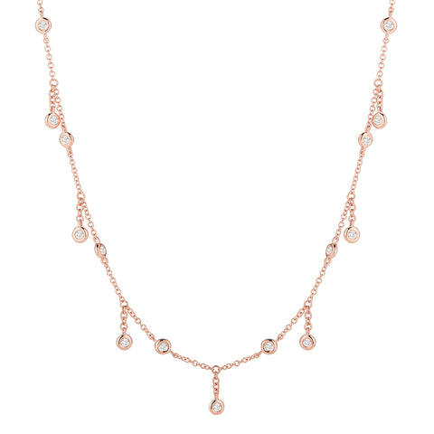 Bezel-set Diamond Fringe Necklace