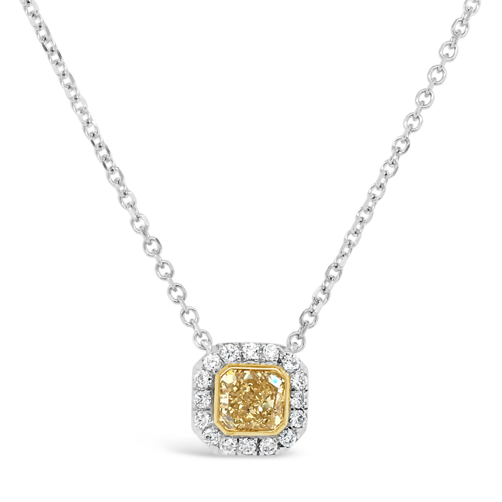 Yellow Diamond Halo Pendant Necklace