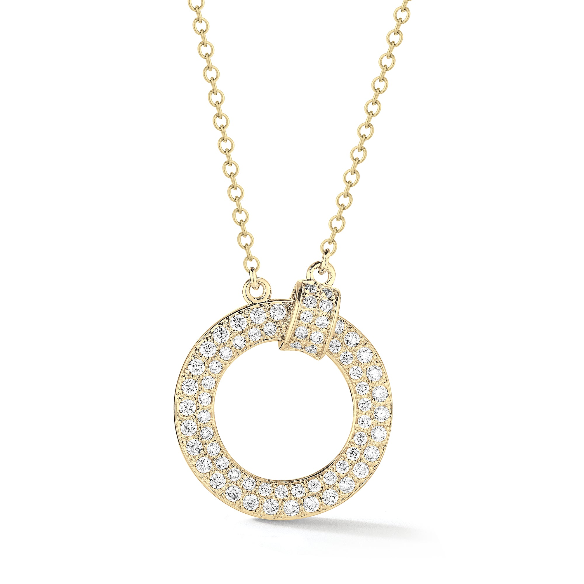 Pave Diamond Open Circle Link Pendant