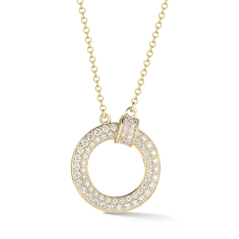 Pave-set Diamond Circle Necklace
