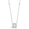 Cushion Diamond Pendant Necklace with Bezel-Set Diamond Chain