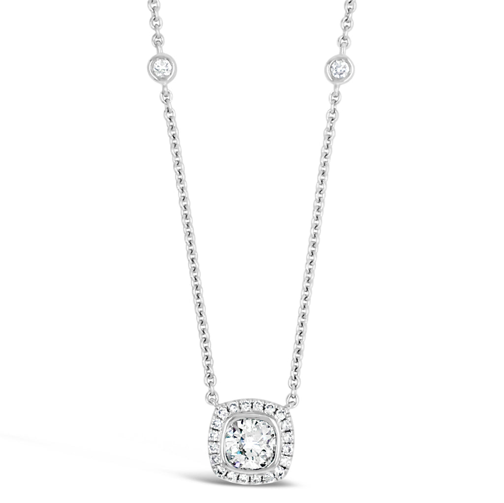 Cushion Diamond Pendant Necklace with Bezel Set Diamond Chain