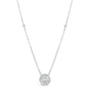 Round Diamond Halo Pendant Necklace with Bezel Set Diamond Stations