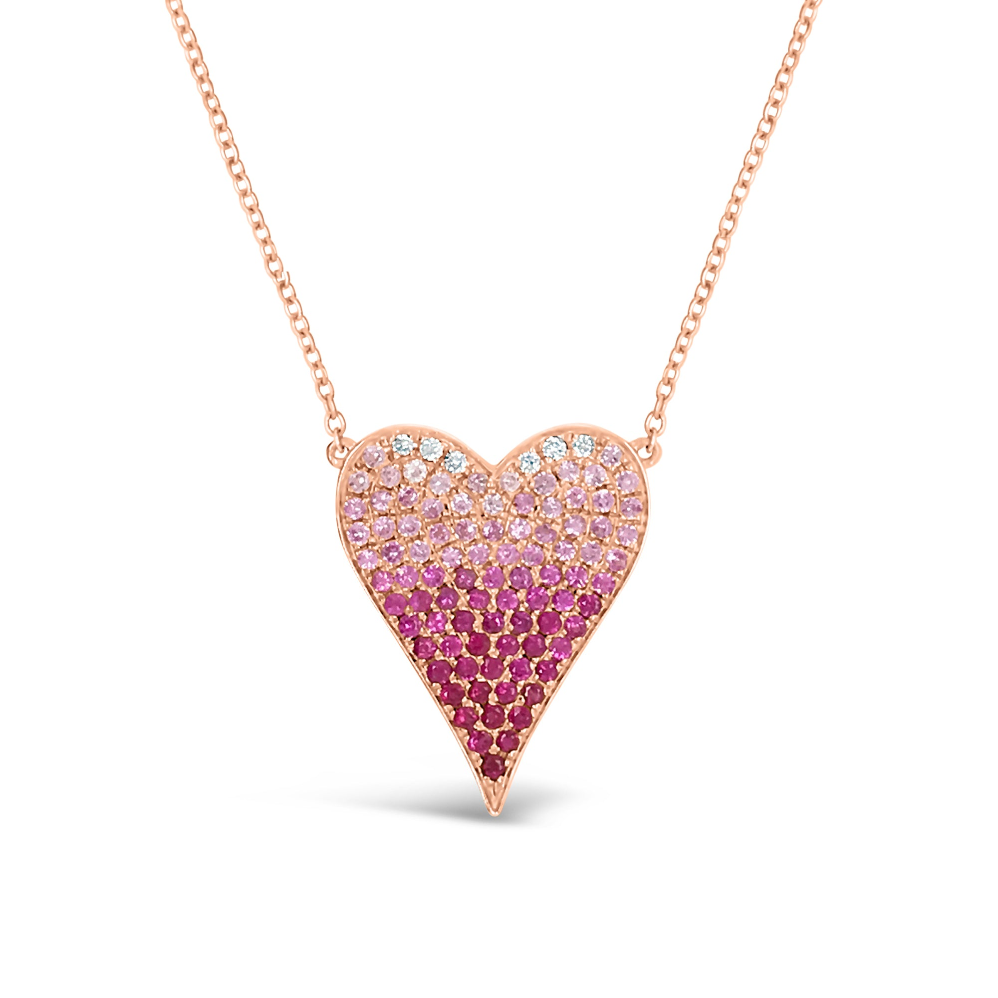 Gradient Gemstone & Diamond Heart Pendant Necklace