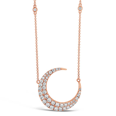 Diamond Moon Pendant Necklace