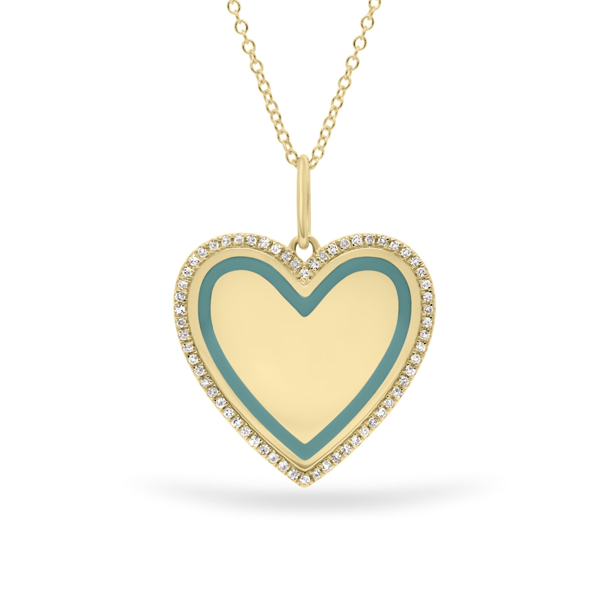 Diamond & Enamel Heart Pendant