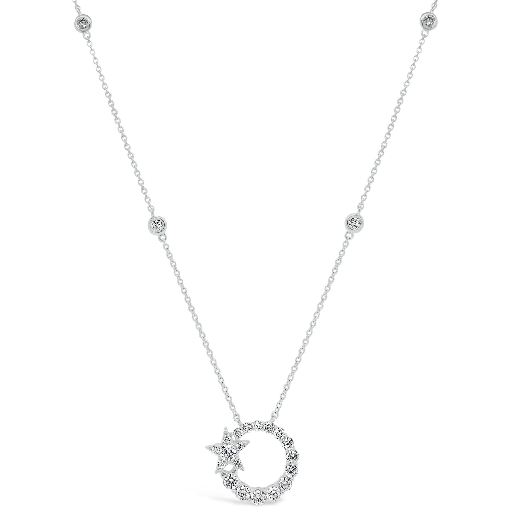Diamond Circle Pendant Necklace with Star