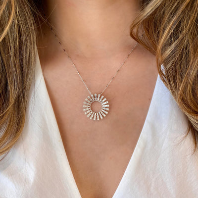 Baguette Diamond Sunburst Pendant Necklace