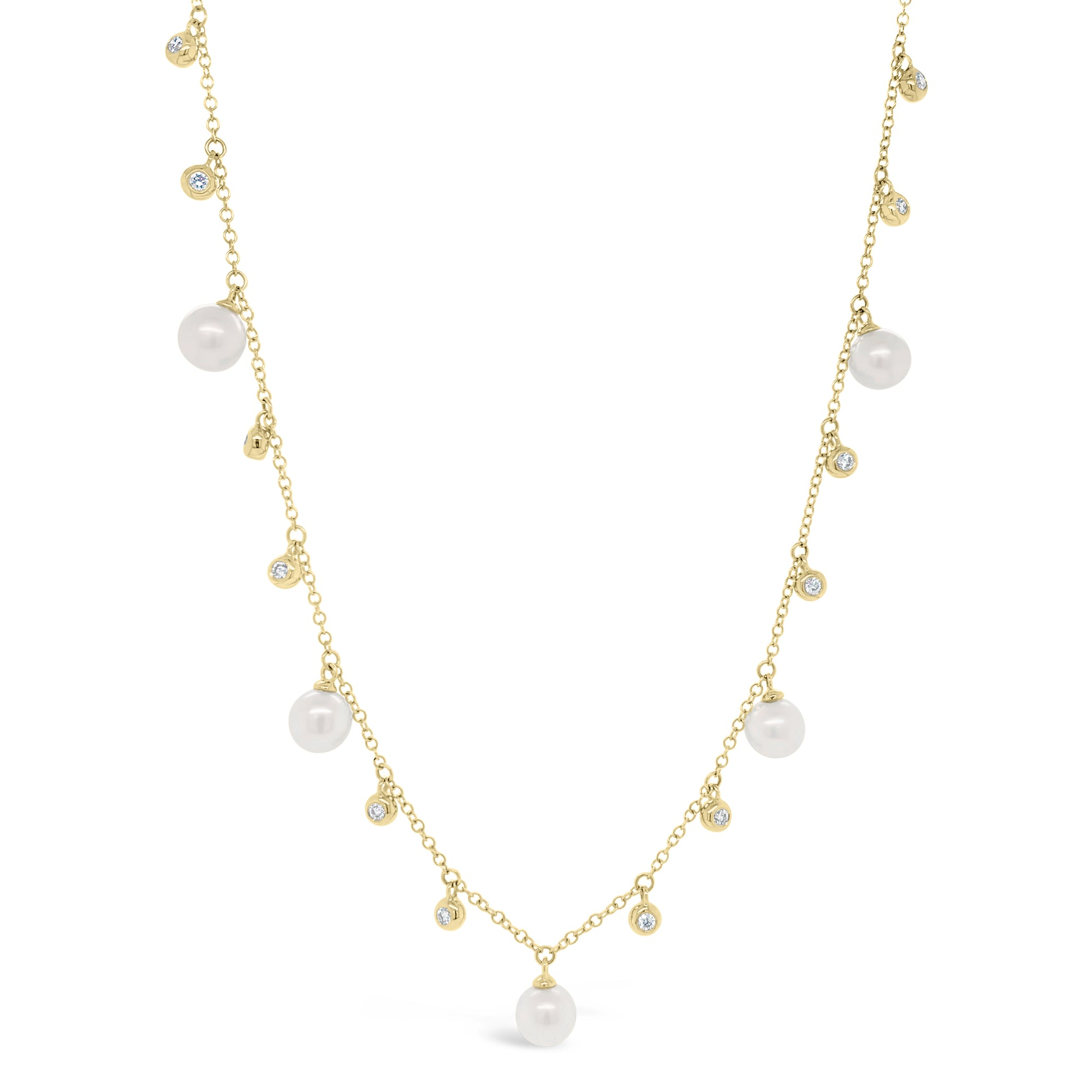 Pearl & Diamond Dangle Necklace
