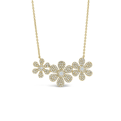 Diamond Daisy Trio Necklace