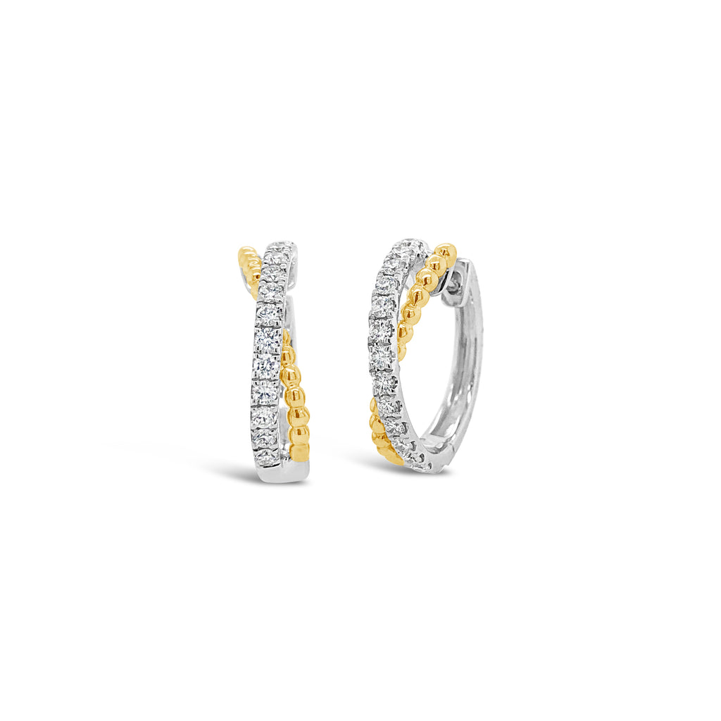 Half Diamond Half Beaded Gold Huggie Twist Earrings