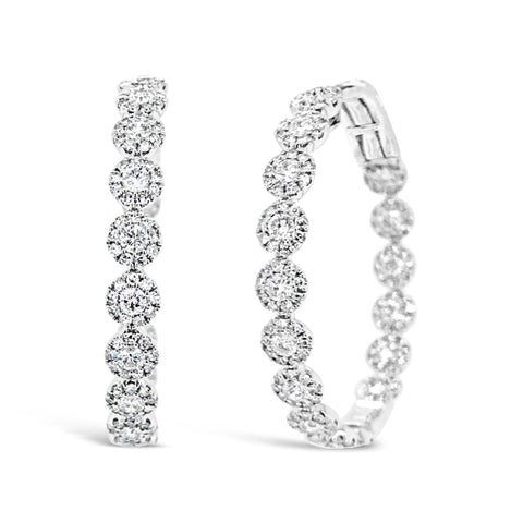 Bezel-set Diamond Hoop Earrings