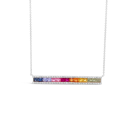 Rainbow Gemstone & Diamond Baguette Bar Necklace
