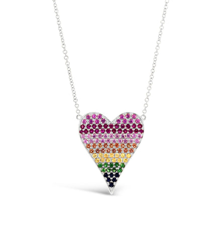 Rainbow Gemstone Heart Pendant Necklace