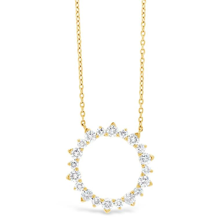 Diamond Sunburst Outline Pendant Necklace