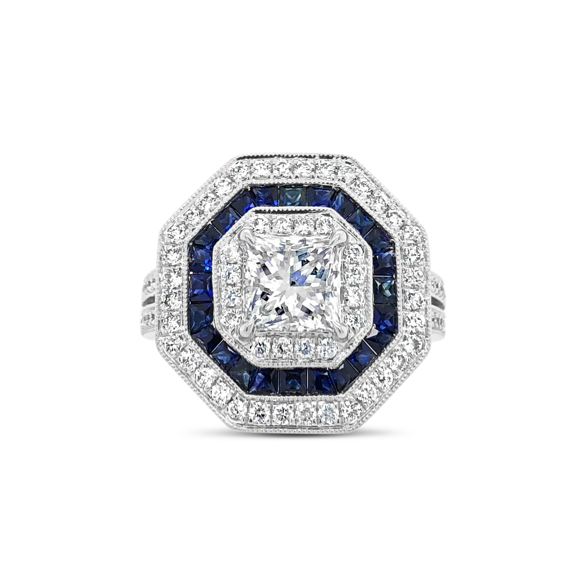 Octagonal Diamond & Sapphire Right Hand Ring