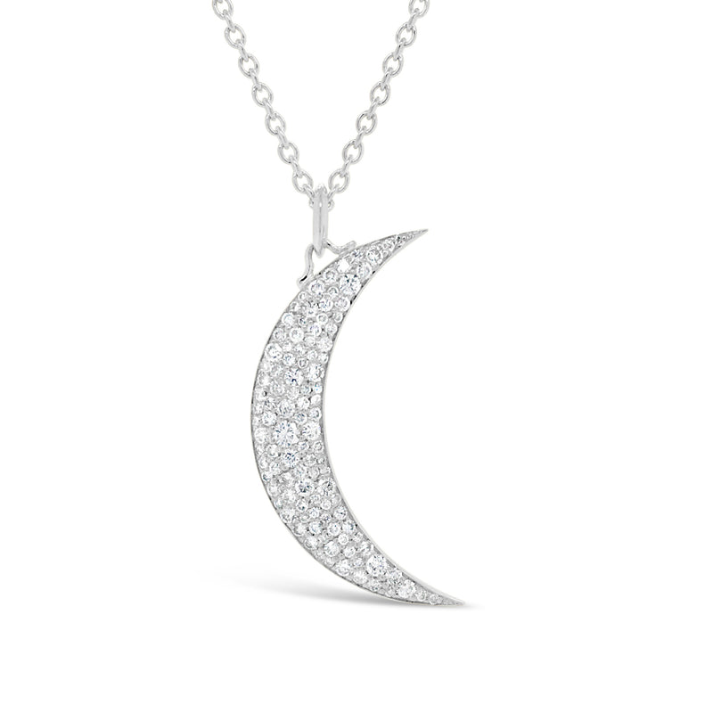 Pave Diamond Crescent Moon Pendant
