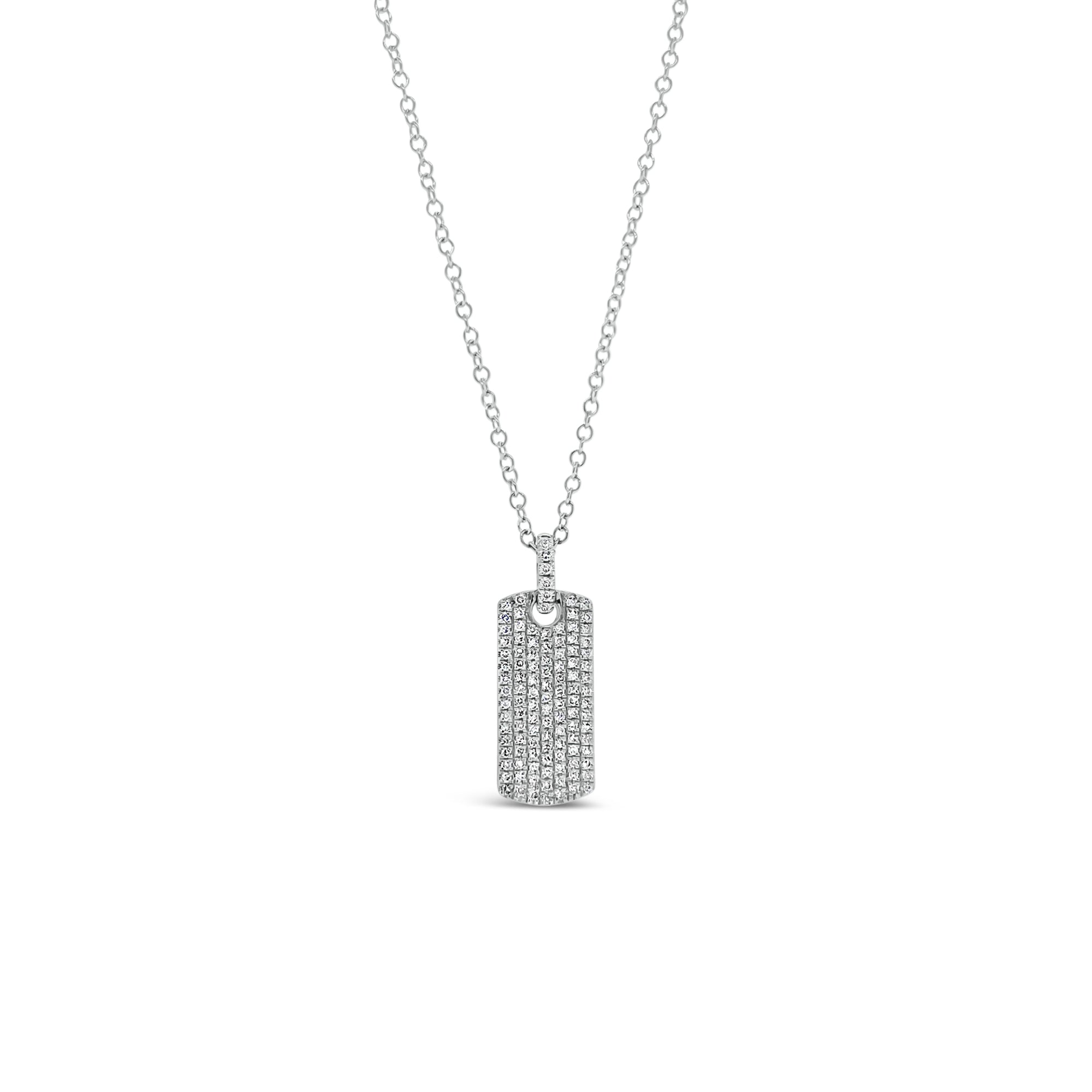 Diamond Dog Tag Necklace with Diamond Bail
