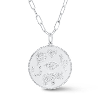 Diamond Good Luck Charm Necklace