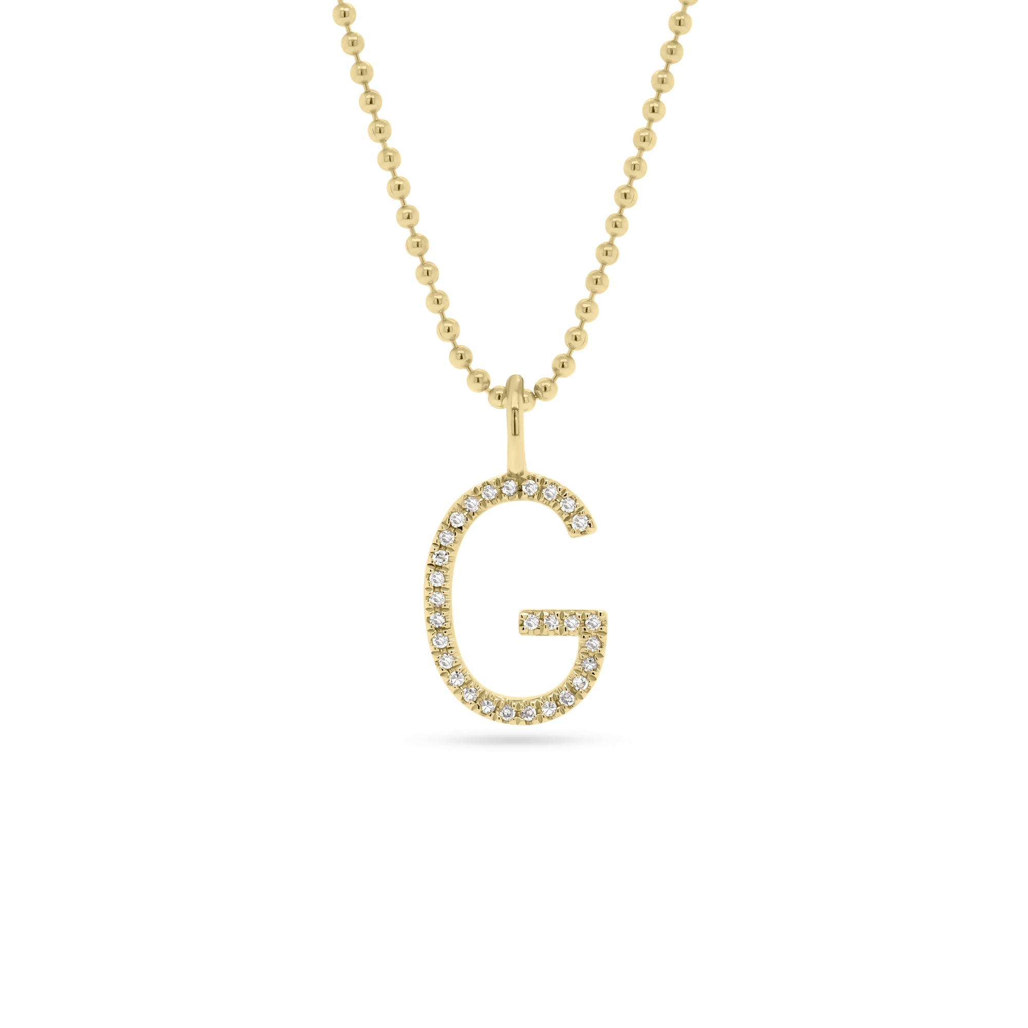 Diamond Initial Pendant on Gold Ball Chain