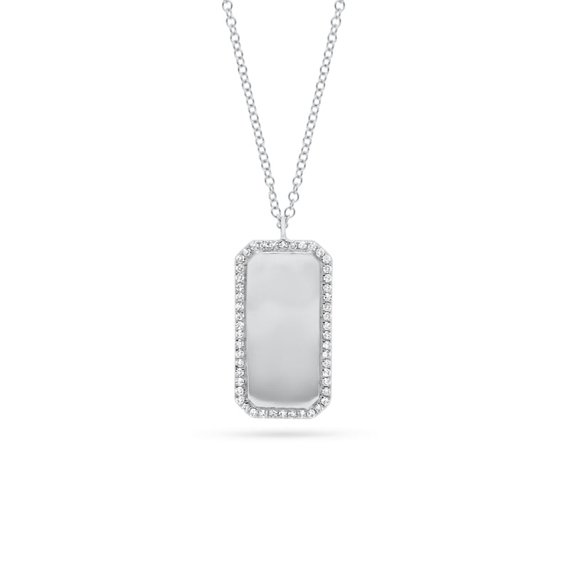 Diamond Framed Dog Tag Pendant