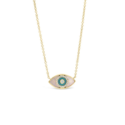 Mother of Pearl & Diamond Evil Eye Pendant
