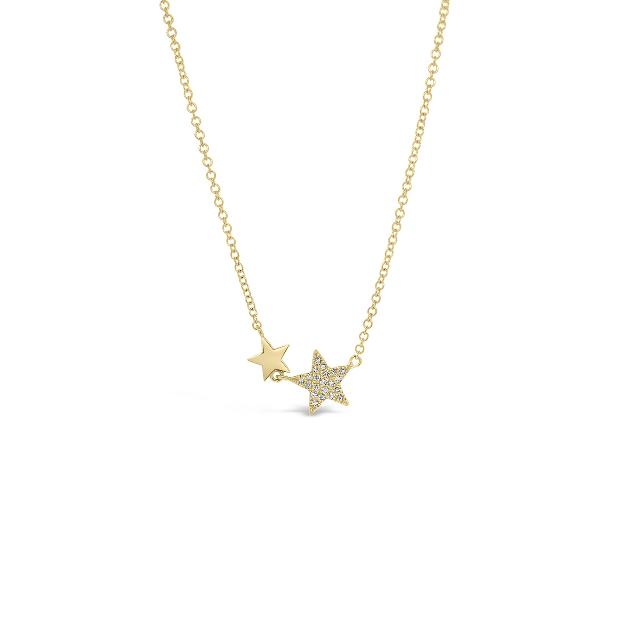 Diamond Double Star Necklace