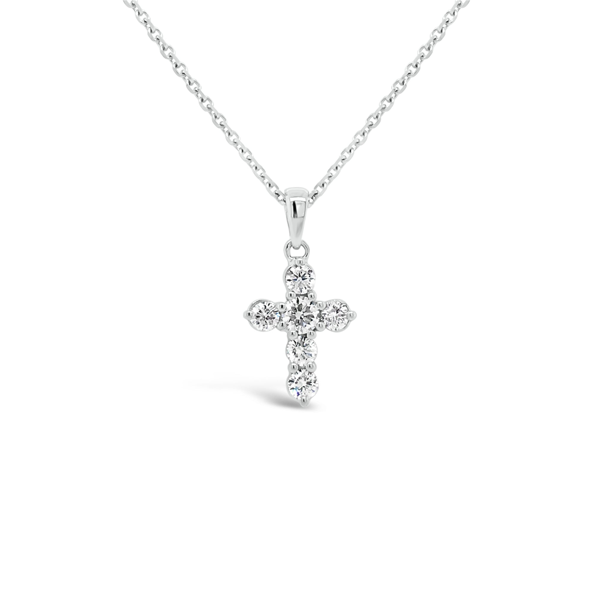 Diamond 6-Stone Cross Pendant Necklace