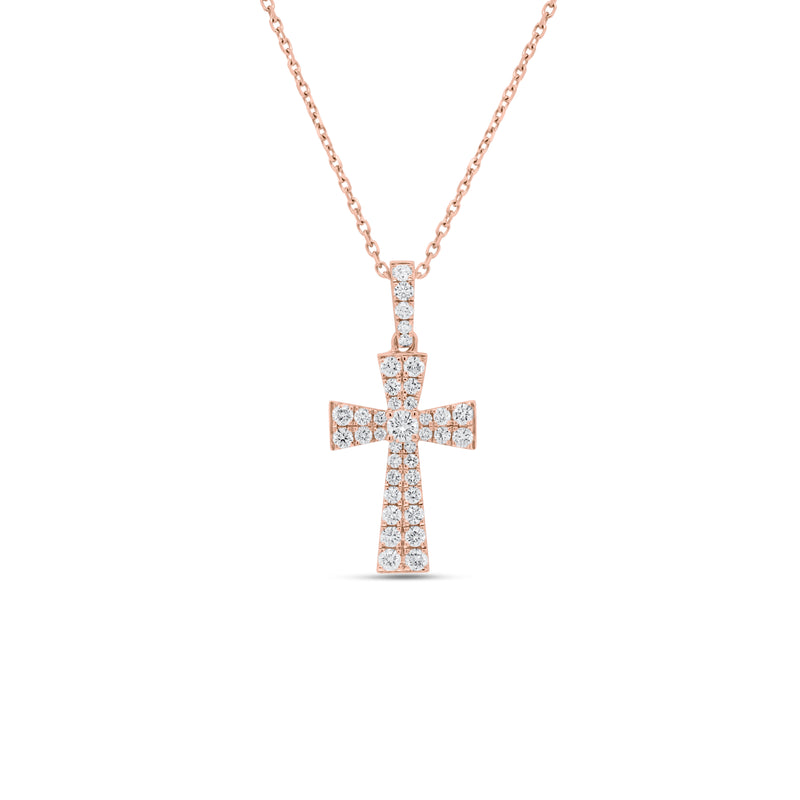 Diamond Flared Cross Pendant