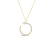 Diamond Open Circle Pendant Necklace with Pear-Shaped Diamond