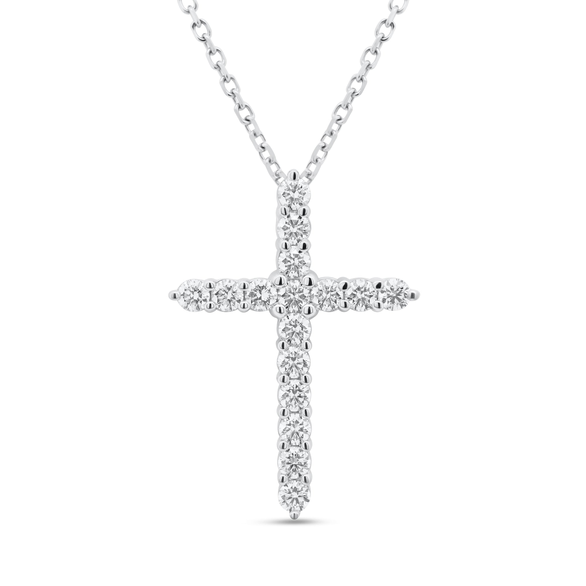 Diamond Large Classic Pointed Cross Pendant