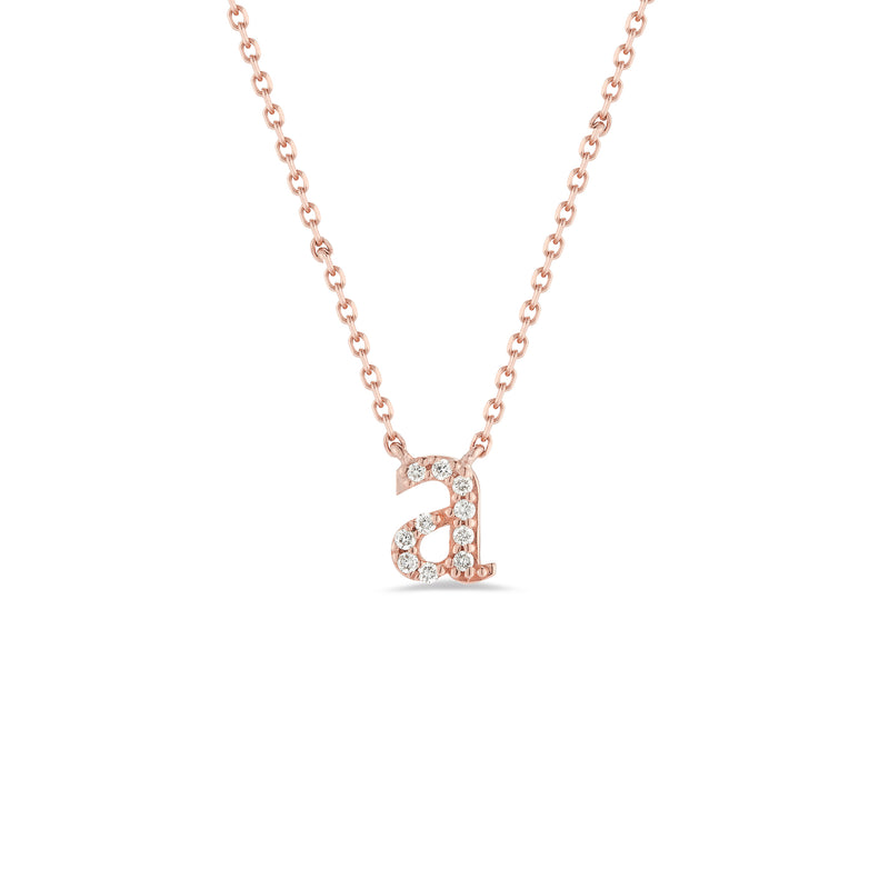 Diamond Mini Lowercase Initial Necklace
