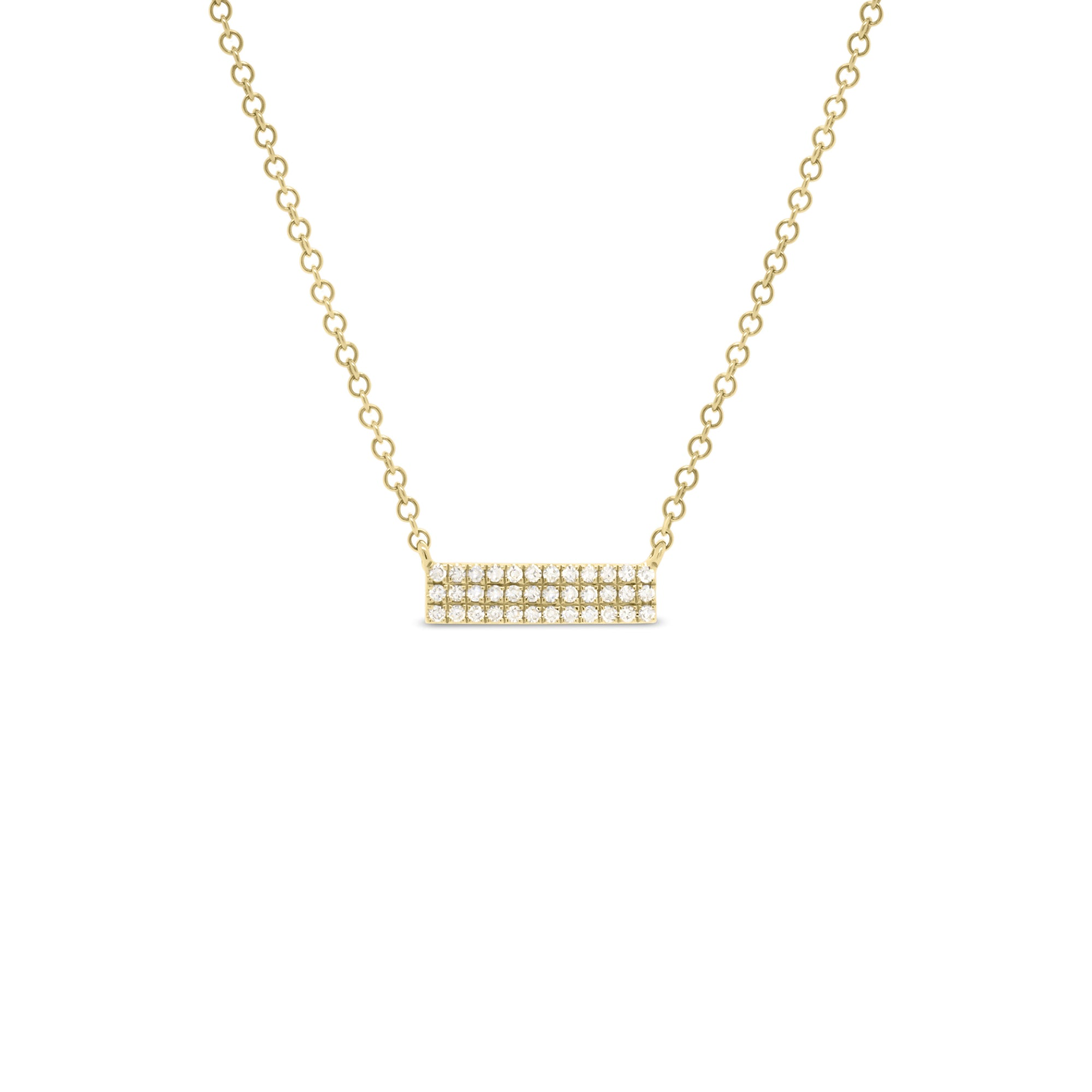 Gold Pave Mini Diamond Bar Necklace