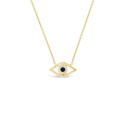Diamond & Sapphire Evil-Eye Pendant Necklace