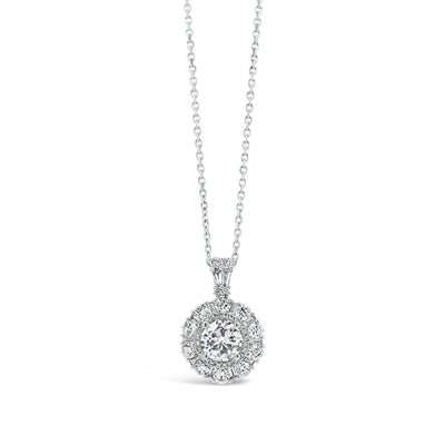 Diamond Halo Pendant with Rounds and Baguettes