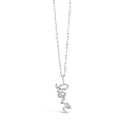 Small Diamond 'Love' Script Pendant Necklace
