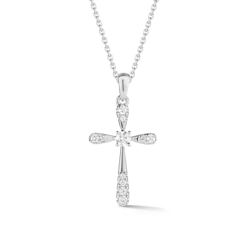 Diamond & Gold Rounded Cross Pendant Necklace