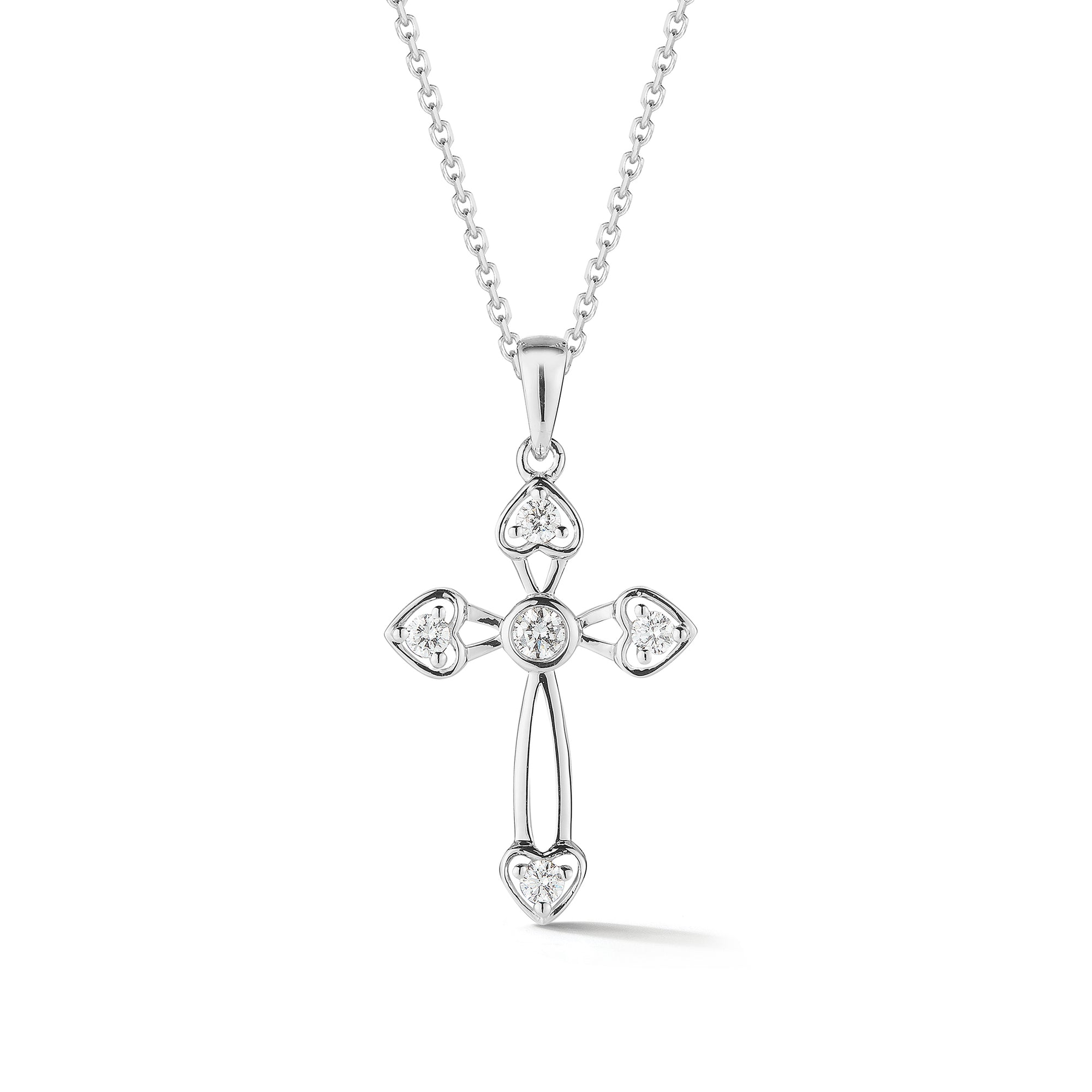 Diamond Cross Pendant with Heart-Shaped Corners