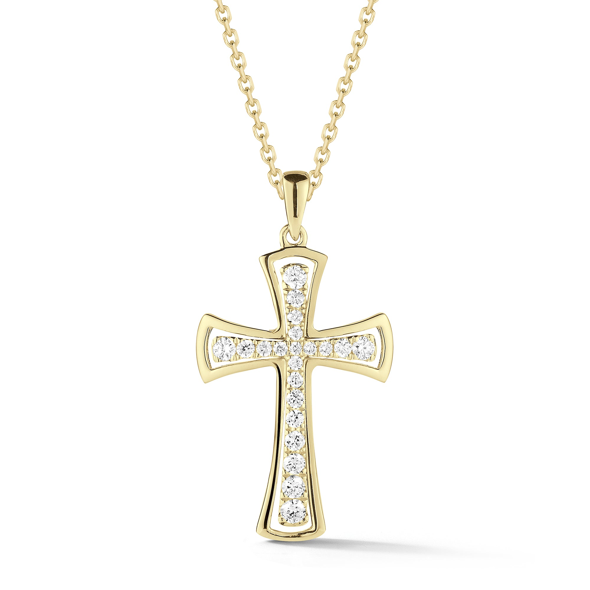 Diamond Cross Pendant Necklace with Gold Halo